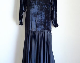 Thierry MUGLER black velvet and silk chiffon long dress