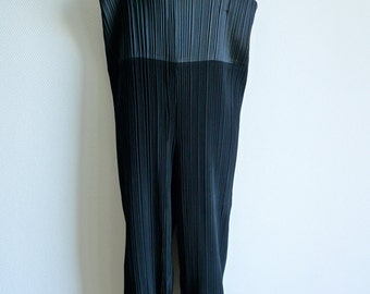 Issey Miyake double layered pleated high waisted pants with straps