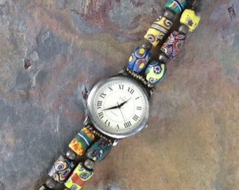 Trade Bead Watch, Vintage African Milliefiore Trade Bead Watch,  Milliefiore Watch, Bohemian Watch