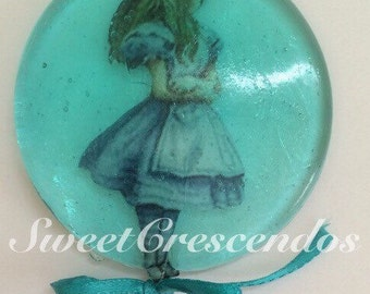 Alice In Wonderland Inspired Lollipop Collection-  Hard Candy Lollipops- Edible Party Favors- Birthday Party Lollipops