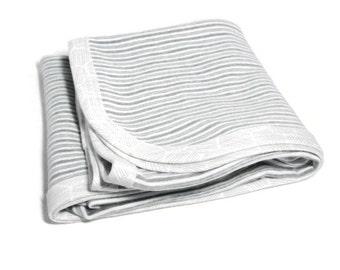 White and Gray Striped Organic Baby Blanket  Super Soft Infant Swaddling Blanket  Baby Organic Receiving Blanket GOTS Grey Stripe Swaddler