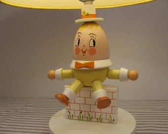 Nursery Lamp - Humpty Dumpty - Vintage 1976 - Great Condition - Nursery Rhymes - Baby / Child Bedroom Decor -  Gender Neutral