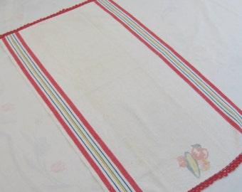 Vintage Startex Kitchen Towel w/ Hand Crochet Trim in Red - Side Stripes - Original Tag -