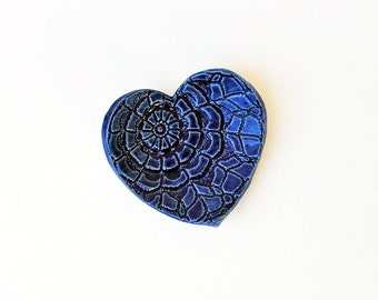 Blue Heart - Ring Dish - Coffee Spoon Rest - Ceramic, Pottery, Handmade- Jewelry Dish, Bridesmaid Gift,  Tea Bag Rest