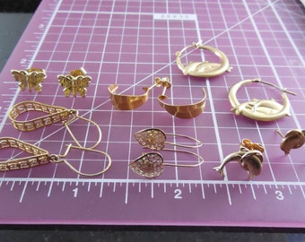 14K Gold Earring Lot!  6 Pairs of 14K Gold Earrings - Dolphins, Butterflies, Hearts, More