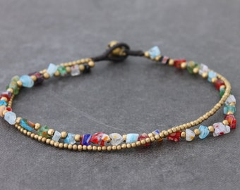 Colorful Glass Beaded Double Strand Anklet