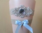 Champagne Lace Wedding Garter Set, Nude / Beige Prom Garter, Bling, Rhinestone, Something Blue, Country- Rustic- Vintage Bride
