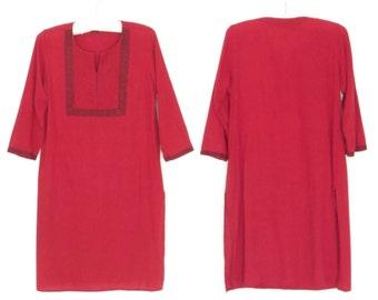 India Cotton Blouse * Vintage Tunic Top * Red Kurti Blouse * Medium