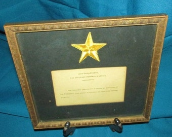 Gold Star WWII  Framed / Condolence Card From US President