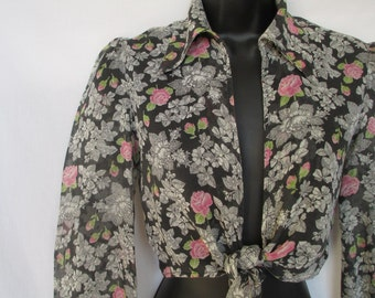 1970s Midriff Blouse, Semi-Sheer, Tie Front Crop Top, Granny Print, Extra Small XS