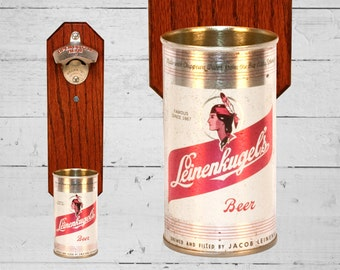 Home Bar Gift Leinenkugel's Wall Bottle Opener with Vintage Leinenkugel Beer Can Cap Catcher