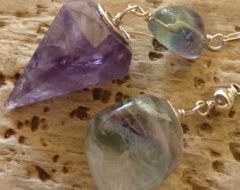 Amethyst Pendulum, Fluorite, Sterling Silver, Dowsing, Meditation, intuition, Healing, Divination, Reiki, Magic