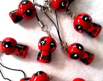 Deadpool charm, Deadpool polymer clay charm, Handmade Deadpool Charm, Kawaii Deadpool, Chibi Deadpool, Planner Accessories, Planner Charm