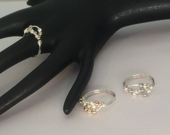 Set of 3 rings, Etsy jewelry, 14kt yellow or rose gold fill, and argentium sterling silver worry ring, any size, including half and quarter