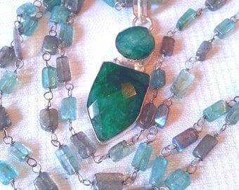 Emerald pendant Aquamarine and Labradorite beaded necklace WOW