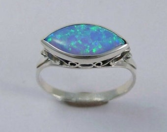 Sterling Silver Ring, Blue opal ring, boho ring, silver ring, unique ring for her, stone ring, gypsy jewelry, hippie - My obsession R1215-1