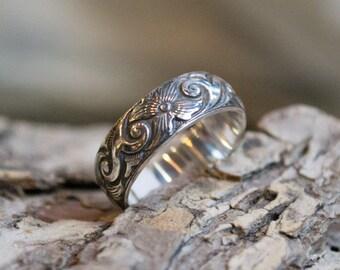 Stacking ring, flower band, gypsy ring, unisex wedding ring, hippie ring, bohemian band, silver wedding band, boho ring - New life - R2141