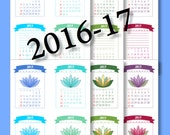 Calendar Planner - 2016 -2017 - Printable POCKET Calendar - Instant Download DESK CALENDAR and Calendar Planner, Monthly and Weekly ...