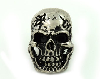 1 pc.Silver Metal Skull Screw Back Stud Concho Rivet Leather Craft Decorations Findings 22x32 mm. SK SCN22 1306