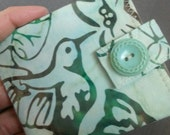 Womens Slim Wallet - hummingbird batik - coin pocket FREE SHIPPING