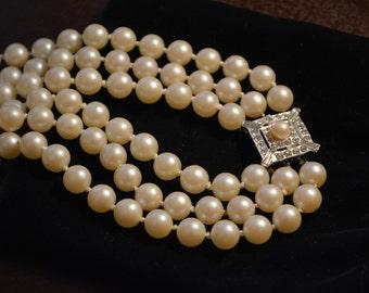 Pearl Necklace--Triple Strand with Rhinestone Clasp--Vintage Art Deco Bridal/Wedding Jewelry