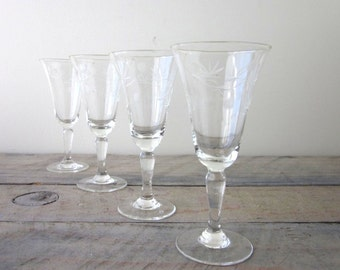 Vintage Etched Cordial Glasses Set of Four Barware