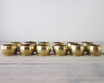 Vintage Brass Napkin Rings Set of Twelve