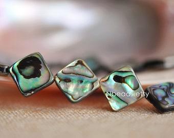 Abalone Shell Flat Square beads 12/ 14mm (V1235)/ Full strand