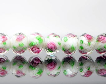 Faceted Rondelle Lampwork Flower Beads 8x10mm White Green Pink -(LL02-14) / Full strand