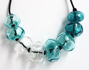 Gorgeous aquamarine blue necklace - sparkling glass necklace - Cheryl necklace