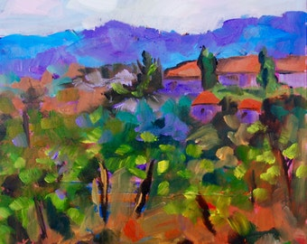 Italy- Tuscany- Modern Impressionist Original Oil Painting of Tuscan Village by Rebecca Croft