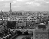 Paris France view of Paris black & white photograph vertical