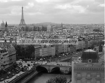 Paris France view of Paris black & white photograph vertical