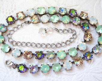 Swarovski chrysolite mint madness crystal necklace, paradise shine, opal mixed crystal set in antiqued silver plated settings-SW1716