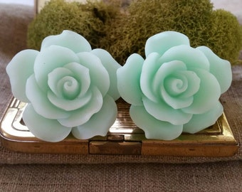 Large Bridal Plugs, Prom Plugs, Flower Plugs, Mint Green, Roses