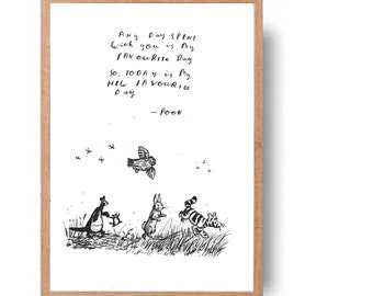 friends of winnie the pooh with cute quote - hand written, hand drawn pooh quote and illustration