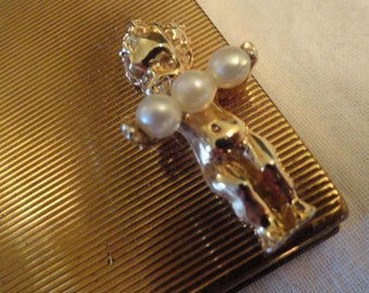 Vintage Compact Hattie Carnegie Cherub and Pearls