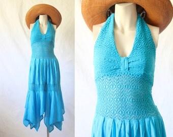 crocheted lace & gauze halter dress/ 1970's