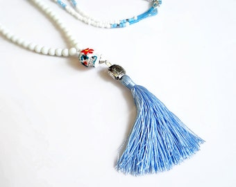 Tassel Statement Necklace, Beaded Sugar Skull Necklace, White Aqua Blue Necklace Dia De Los Muertos