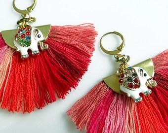 Elephant Earrings, Red Tassel Statement Earrings, Fan Earrings, Boho Earrings, Fiber Earrings
