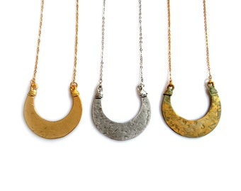 Celestial Moon Necklace, Minimalist Crescent Necklace, Hammered Pendant Necklace, Gold Silver Crescent Necklace