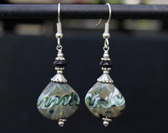 Green and Black Swirl Earrings, Lampwork Glass