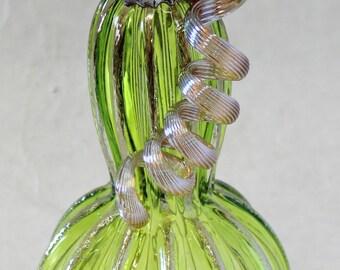 Hand Blown Glass Art Sculpture LIME Pumpkin Oneil 6337