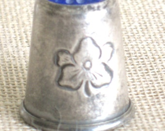 Antique Sterling Silver Thimble, Haakon Jakobsen, Blue Top, Sewing Aids, Tools, Flower, Collectible, Needlework, Stitching, Craft Room