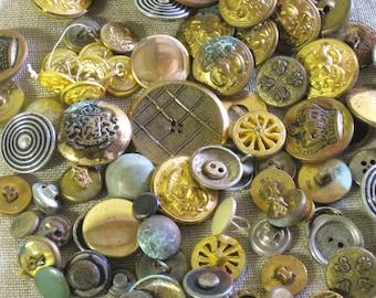 Brass Buttons , Uniform Buttons , Antique Buttons , Vintage Buttons , Craft Supplies ,Sewing Supplies ,Art Supplies ,Metal Buttons ,Clothing
