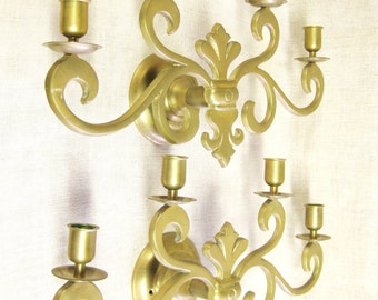 Candle Sconce, Pair of Sconces, 4 Candle Sconce, Brass Sconce, Brass Candle Holder, Wall Sconce, Candle Holder, Wall Decor, Set of Sconces