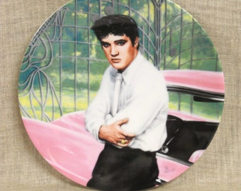 Vintage Elvis Presley Collectors Plate, Rock and Roll, Iconic Figures, Music, Musicians, Delphi Plate, Wall Decor, Young Elvis,Pink Cadillac
