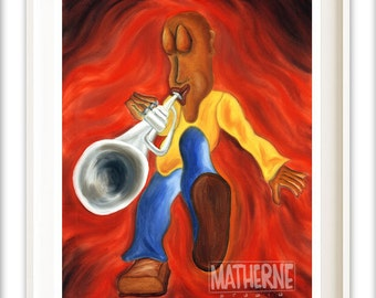 Trumpet Player Art Print - Red and Gold Bold Music Art