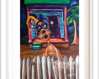 Best Selling Whimsical Dog Art Print - fun dog art with bold colors