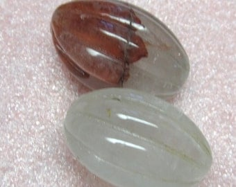 Quartz Beads 30 X 18mm Natural Rutilated Hand Carved Oblong Melons - Last 2 Pieces